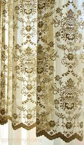 cÉline mustard brown color continuous lace sheers full lenght french lace net curtain by