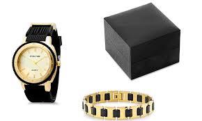 men s 18k gold plated watch and bracelet set groupon men s 18k gold plated watch and bracelet set men s 18k gold plated watch