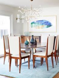 contemporary blue and white dining room with midcentury accents