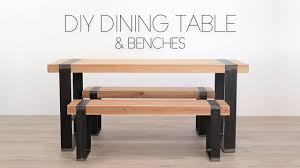 Diy Modern Dining Table W Matching Benches Modern Builds Youtube