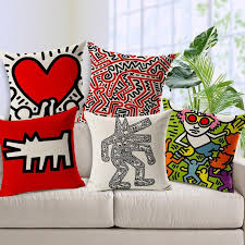 7 styles keith haring creative art paint sofa cushion covers decorative lumbar pillows for chairs