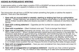language arts mr mcginty hooking your reader and a final  it can be an anecdote a very short story a fact a quote or a question some examples of argument essay hooks can be found below