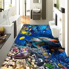 Custom <b>Photo</b> Wall Paper <b>3D Turtles</b> Tropical Fish Coral <b>3D</b> Floor ...