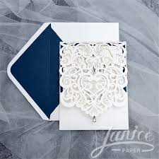 exquisite laser cut white pocket whole wedding invitation cards wpl0074 matching laser cut cards available