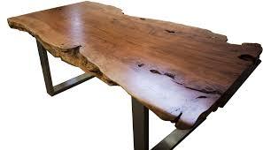 Baumstamm Tisch Massiv Mit Edelstahlgestell