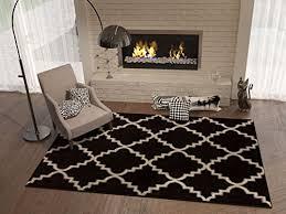 black ebony 5 8 5 3 x 7 3 area rug trellis morrocan modern geometric wavy lines area rug living dining room bedroom resistant carpet contemporary soft