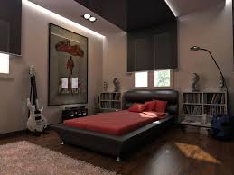 Compact Apartment Bedroom Designs Dark Hardwood Area Rugs Lamps Red