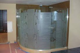 etched carved glass shower enclosure geometric pattern