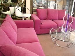 Furniture:Modern Living Room With Small Pink Sofa And Round Clear Glass  Coffee Table Also