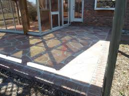 Decorative Resurfaced Concrete Patio Enclosed with Brick Border - Easley,  South Carolina
