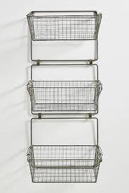 gray three tier wire basket wall storage