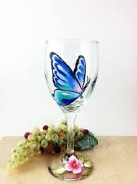 erfly wine glass painted wine glasses erfly home decor best wine gift gift idea for mom housewarming gifts wine lover gift