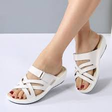 <b>Women</b> Leather Flat Sandals Low Heel Wedges <b>Summer Open Toe</b> ...