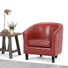 austin red faux leather arm chair
