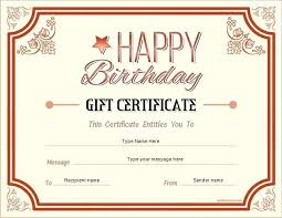 Gift Certificate Template Printable Birthday Gift Certificate Template Printable Templates Free