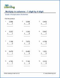 Grade 4 Multiplication Worksheets Free Printable K5