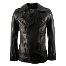 mens new black luxury leather military vintage style biker pea coat jacket s xl