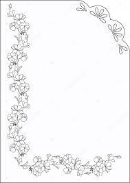 black vintage frame design. Rectangular Frame With Floral Motifs. Outline Black And White Vintage Frame. \u2014 Stock Vector Design