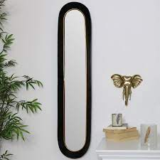 tall oval gold black mirror