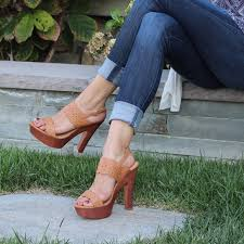 wood chunky high heel platform sandal shoe