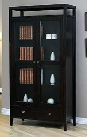 bookcase with cabinet modern brown solid wood 2 door bookcase with glass door tall media bookcase