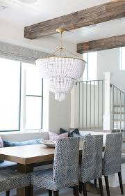 jacqueline two tier pendant in white glass by aerin this stunning white beaded chandelier