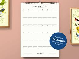 Personalized Family Calendar Calendar 2019 Wall Calendar 2019 Family Planner A3 Monthly Calendar Personalized Minimalist