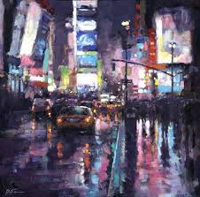 david farren abstract painting night rain nyc original cityscape painting