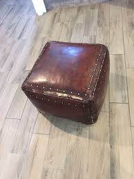 rustic leather ottoman
