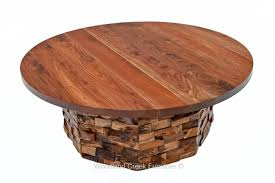 rustic coffee table round with stacked reclaimed wood pieces