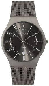 skagen mens stainless steel and titanium watch 233xlttm hollins skagen titanium and stainless steel mens watch 233xlttm