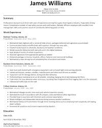 Ideal Truck Driver Resume Example Free Career Resume Template