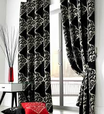White And Black Curtains For Living Room Contemporary White Living Room With Glass Door And Black Curtains