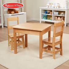 Melissa Doug Solid Wood Table Chairs Kids Furniture Sturdy Wooden Furniture 3 Piece Set 20 H X 235 W X 205 L