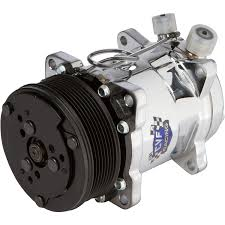 ac compressor. 8 rib sanden style ac compressor - chrome ac