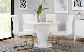 gallery paris round white high gloss dining table with 4 perth white chairs