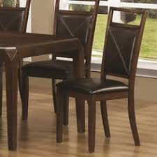 set of 2 dining chairs with leatherette padded seat in dark oak finish by coaster home