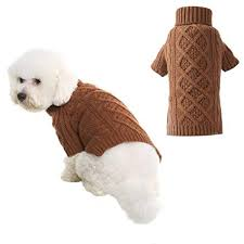 Pupteck Classic Cable Knit Dog Sweater Pet Turtleneck Coat Puppy Winter Clothes 2 Colors