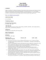 Sample Resume Of Net Developer Epic Sample Resume For Experienced