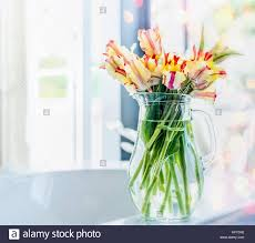 vase lighting. Fresh Tulips Bunch In Glass Vase At Sunny Window With Bokeh Lighting, Springtime Home Decoration Lighting