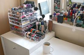 nice looking design of makeup drawers ideas featuring white wooden makeup table with drawers and square shape clear acrylic makeup box