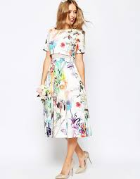 ASOS WEDDING Crop Top Midi Prom Dress In Floral Print 119.75.