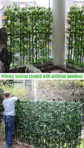 privacy screens created with artificial bamboos that bring a fresh feel