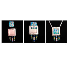 silver plated rectangle gallery frame pendant