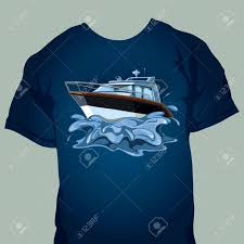 Yacht T Shirt Designs Tshirt Design With Motor Boat In The Sea Splashes From The Movement
