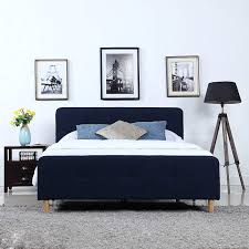 DIVANO ROMA FURNITURE Mid Century Modern Linen Fabric Low Profile Bed Frame (Twin, Blue)