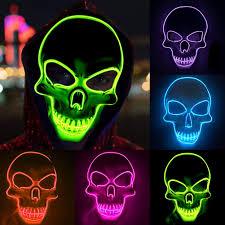 Light Up Skull Mask 2019 Halloween Scary Mask Led El Wire Light Up Skull Mask Costume Mask Glow In Dark Halloween Party Skull Props