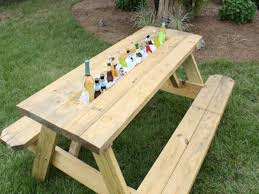 Table With Drink Trough Metal Outdoor Side Tables Picnic Table With Drink Trough Drinking