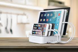 ... 6-Port Customizable Media Organizer Desktop Charging Station
