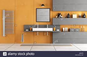 Orange Und Grau Modernes Badezimmer Mit Waschbecken Nische Und